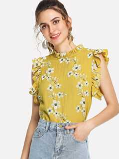 Daisy Print Frilled Trim Shell Top