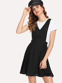 Pleated V-Neck Shell Solid Dress