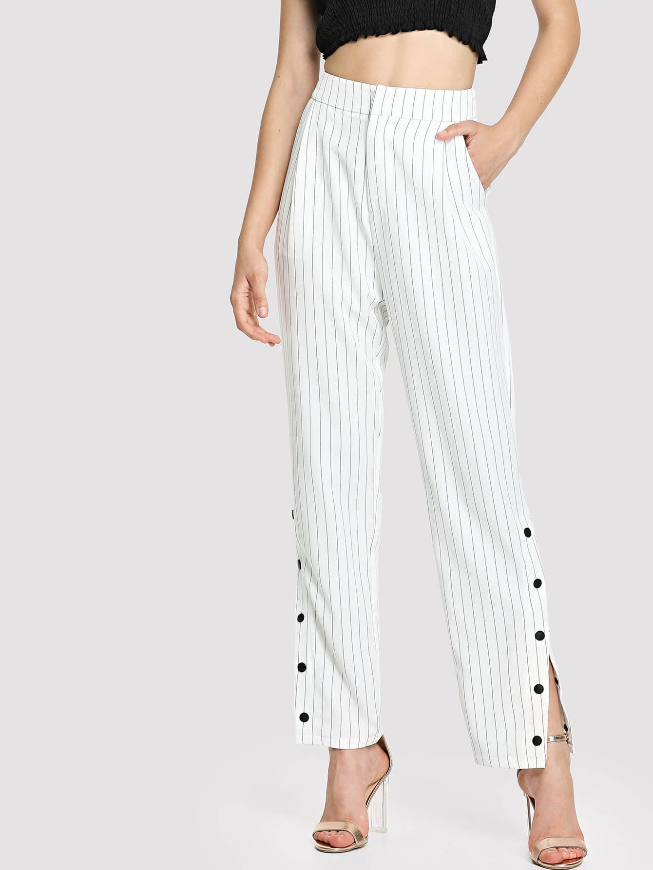 Купить Pinstripe Snap Button Up Hem Pants, Jana, SheIn