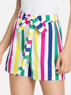 Self Belted Vertical Striped Shorts