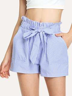 Pocket Patched Frill Belted Waist Pinstripe Shorts