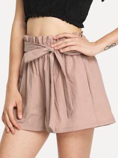 Ruffle Waist Self Belt Shorts