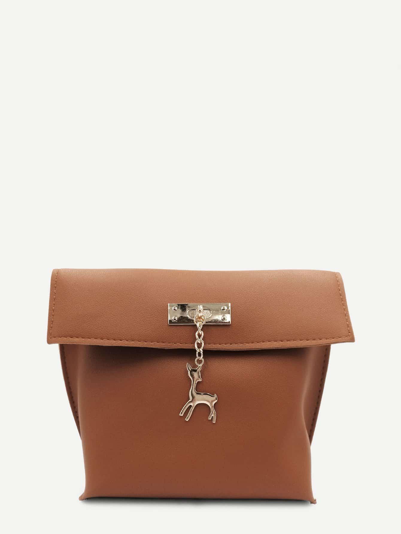 Metal Deer Detail PU Shoulder Bag metal deer detail crossbody bag
