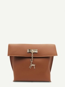 Metal Deer Detail PU Shoulder Bag
