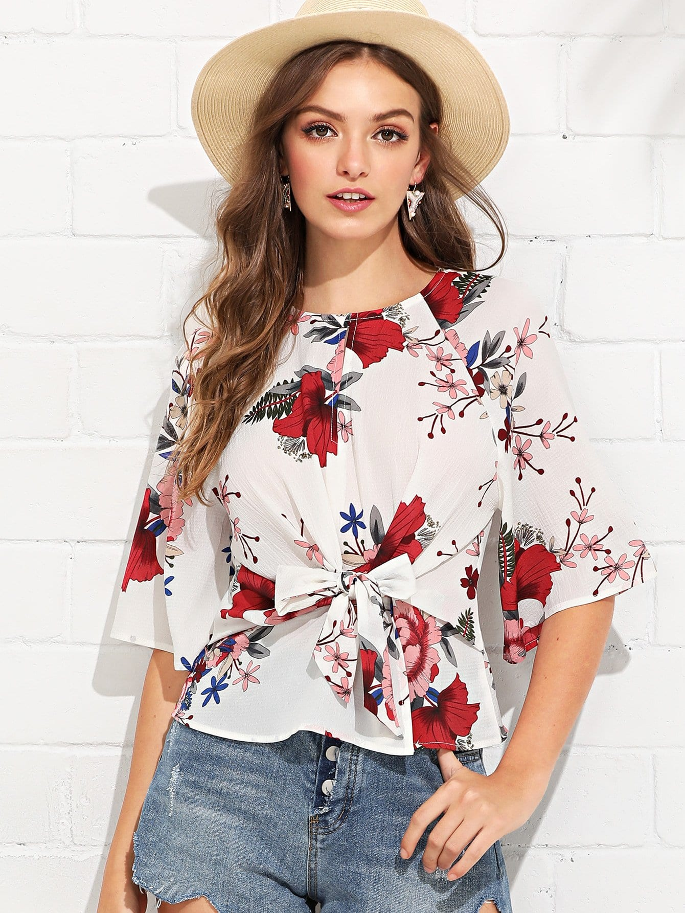 Knot Front Floral Print Top knot front floral print top