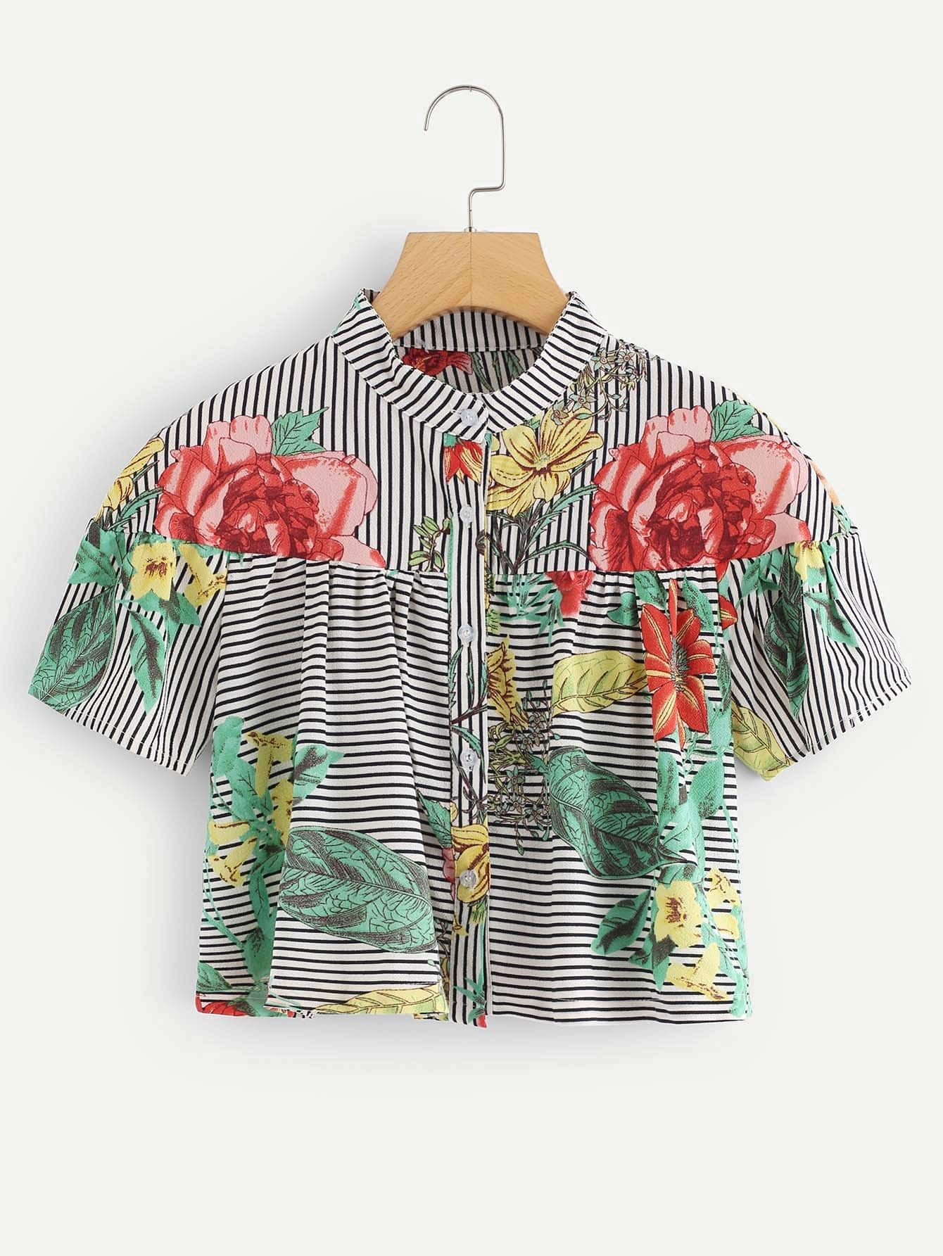 Single Breasted Floral Print Top fruit print single breasted kimono