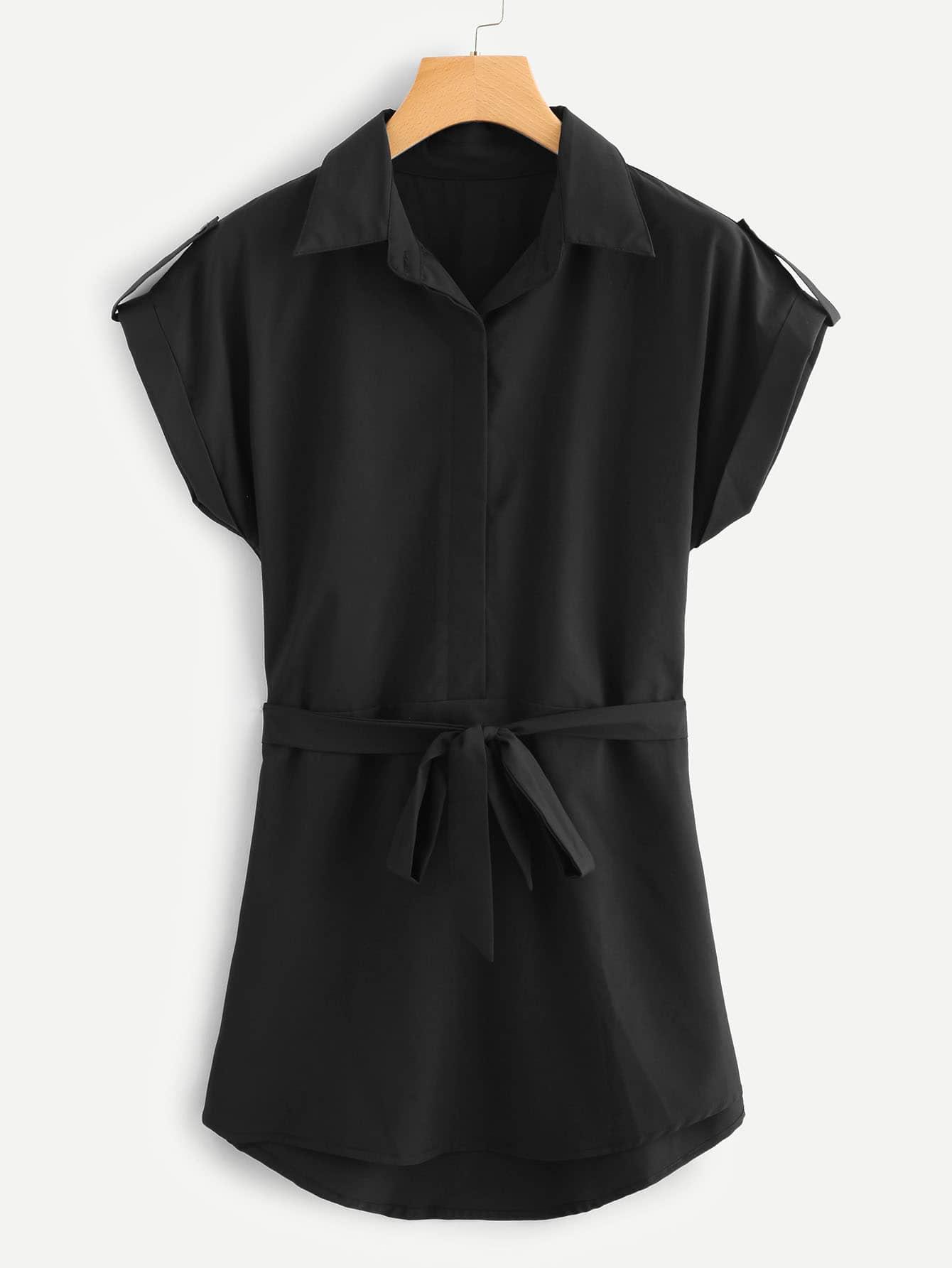 Self Tie Waist Cuffed Dress цена 2017