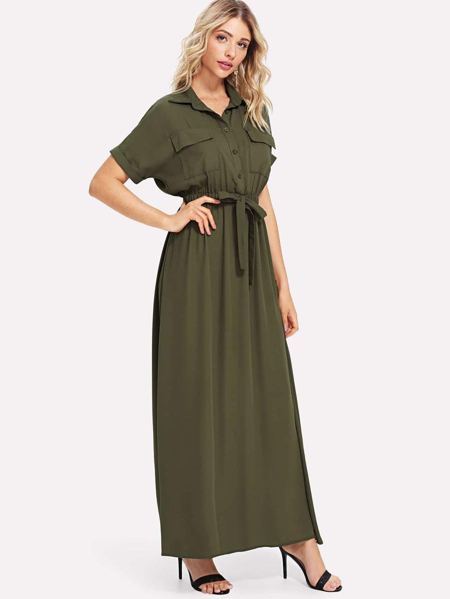 Drawstring Waist Dual Pocket Dress by Sheinside