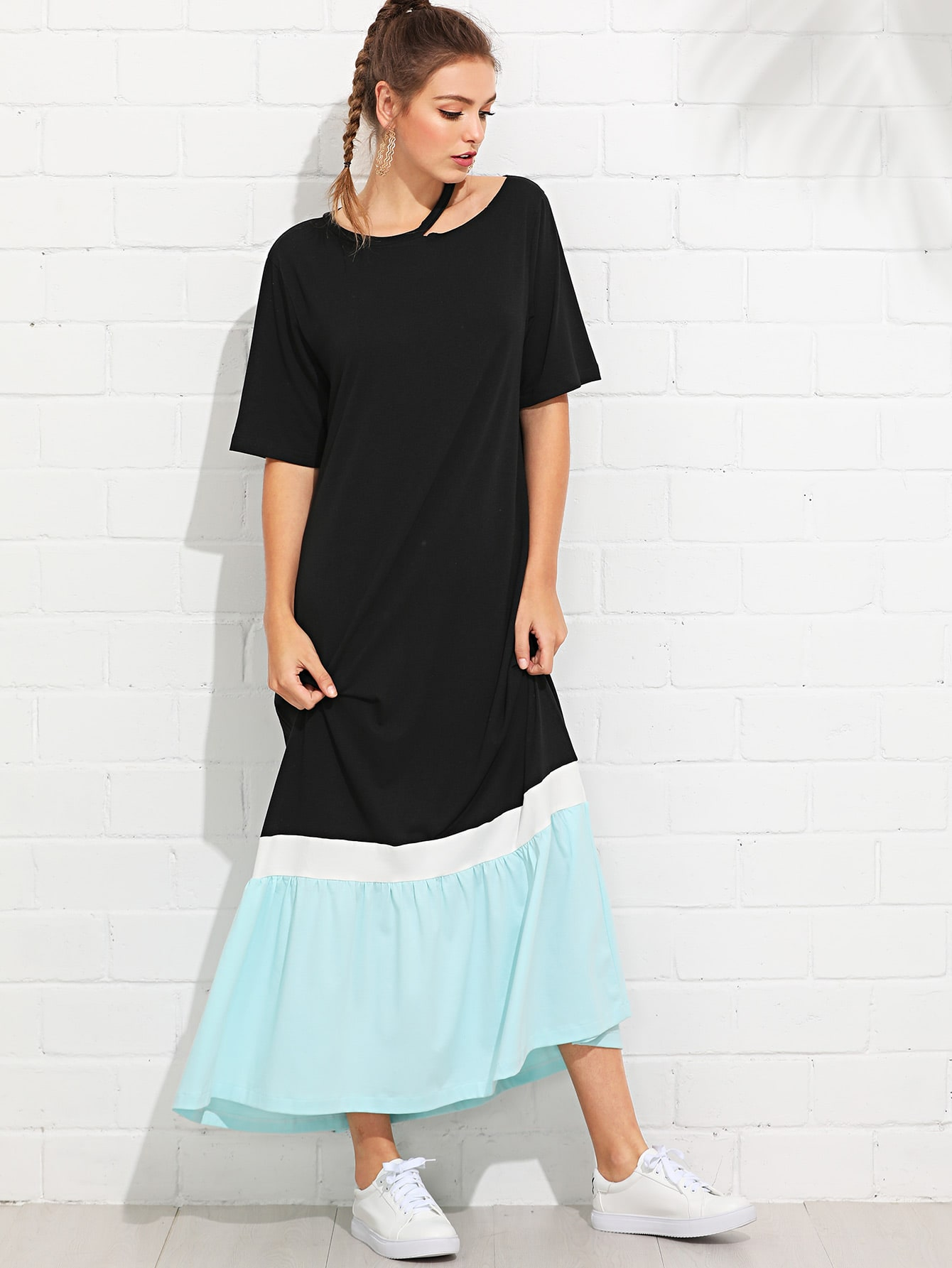 Cut Out Neck Color Block Tee Dress chic stand collar 3 4 sleeve striped shirt dress for women