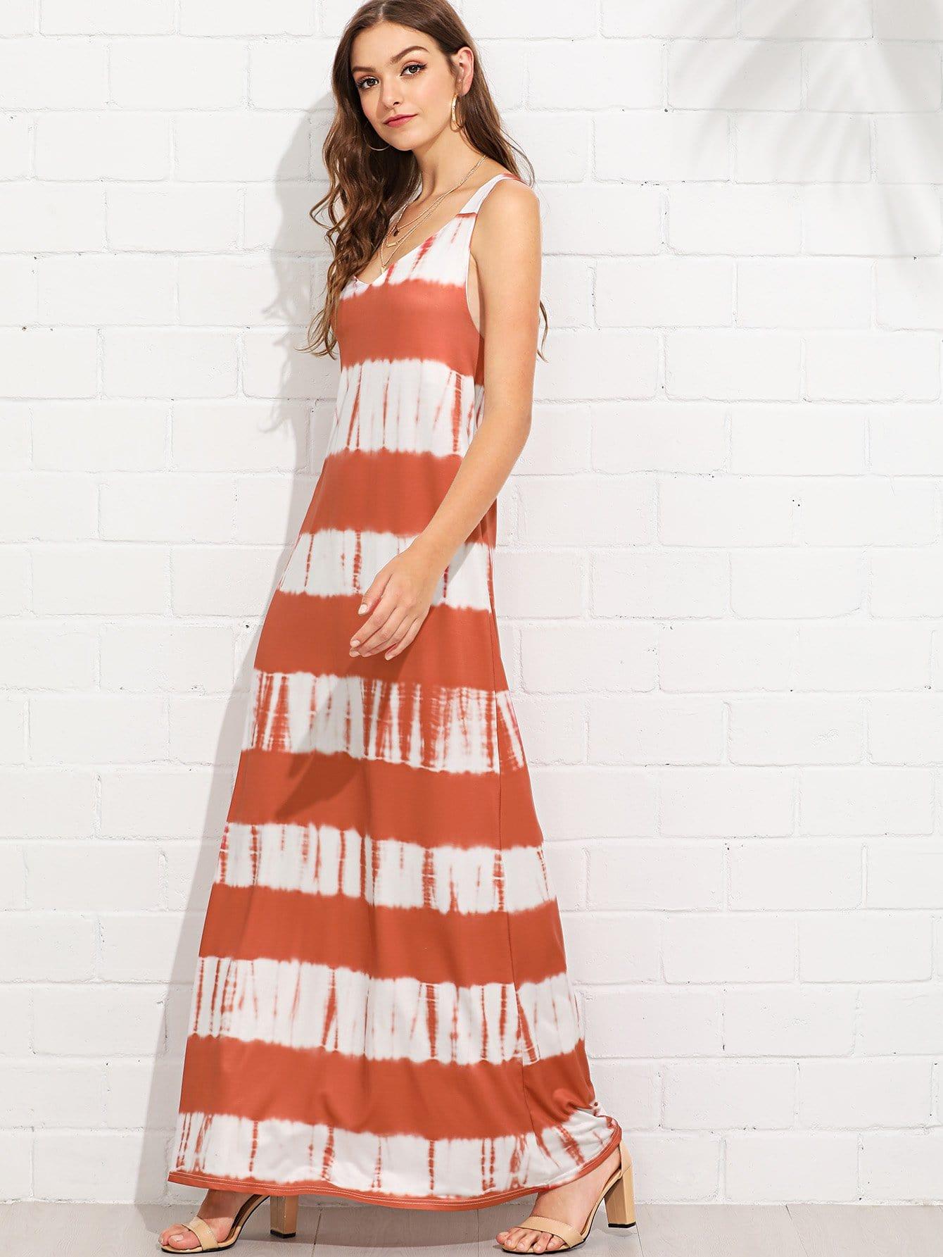 Deep V Neckline Tie Dye Dress