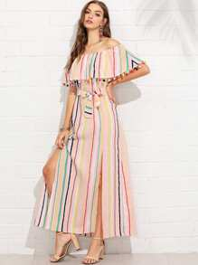 Pom-Pom Trim Split Side Striped Dress