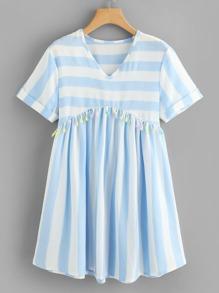 V Neckline Fringe Striped Dress