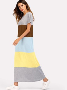 Color Block Short Sleeve Dress