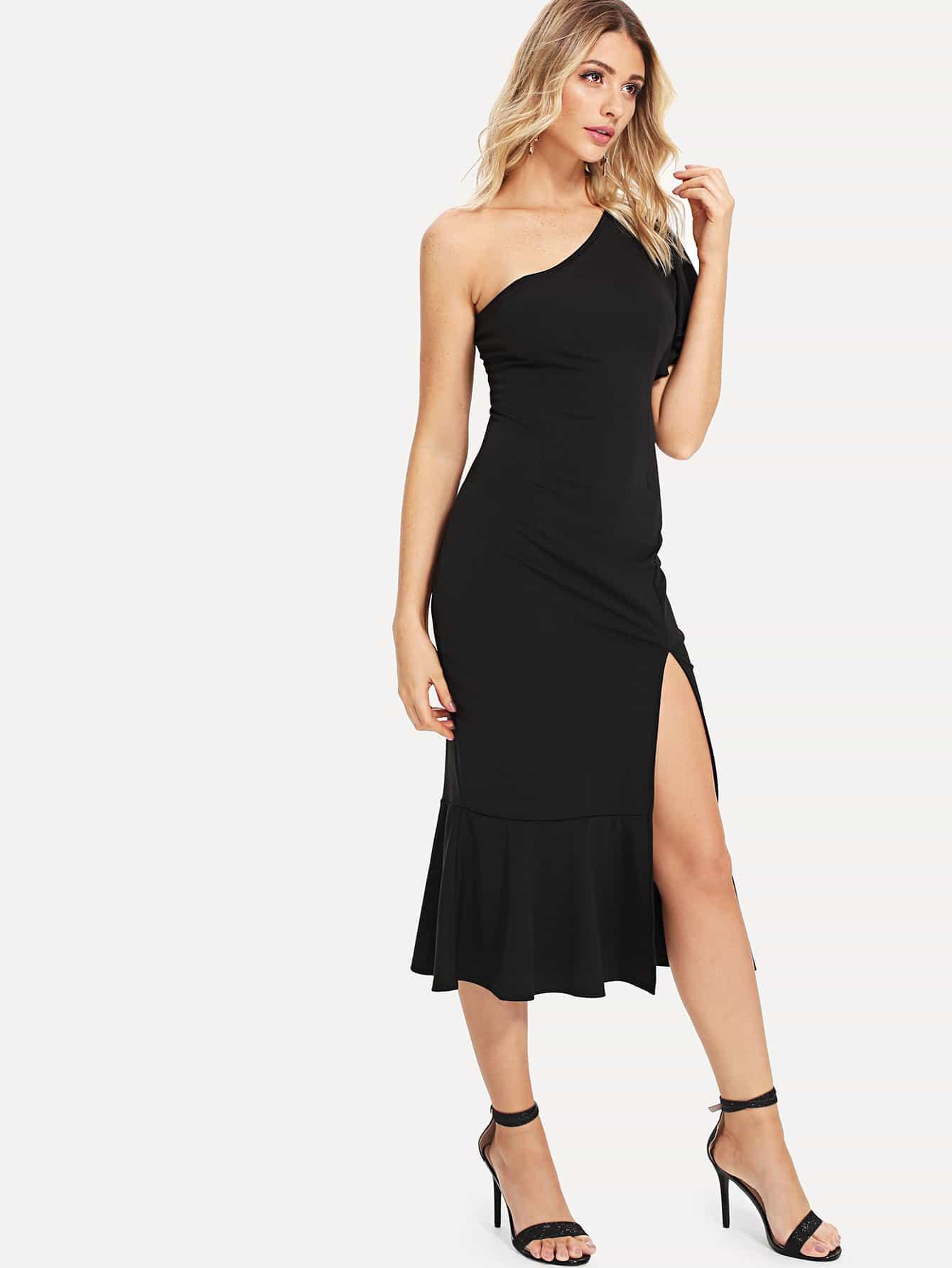 One Shoulder Split Side Dress dark coffee side pockets one shoulder mini dress