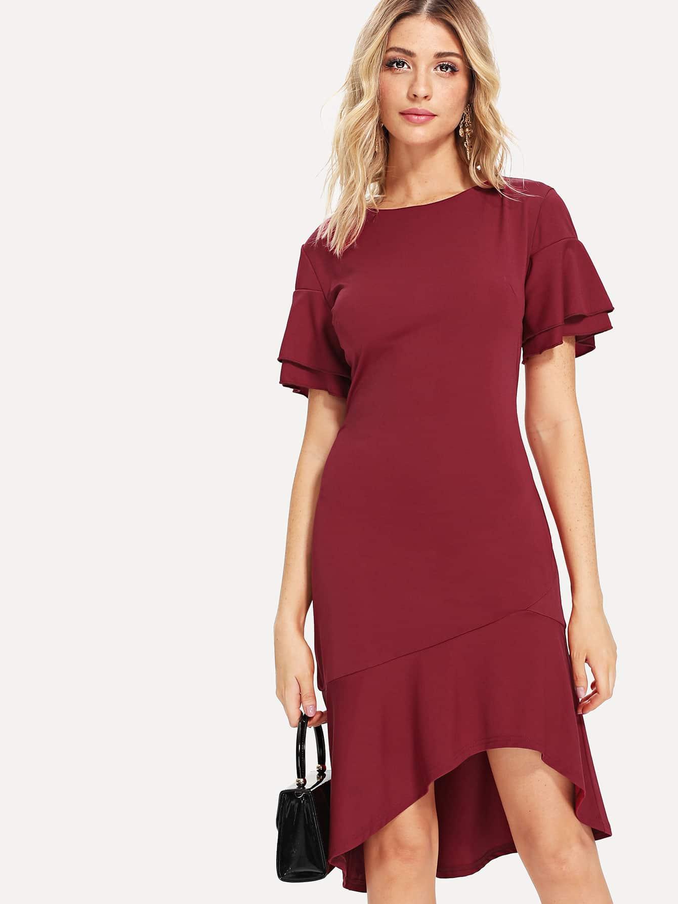 Ruffle Sleeve Dip Hem Dress striped sleeve ruffle dip hem dress