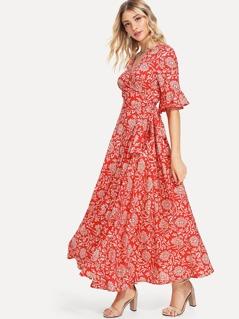 Flounce Sleeve Flower Print Dress
