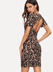 Damask Flocked Bodycon Dress