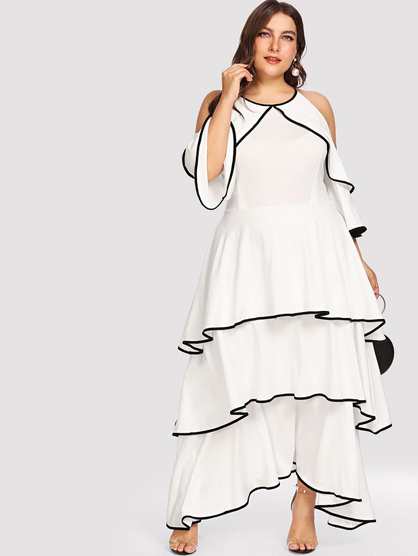 Plus Cold Shoulder Layered Dress