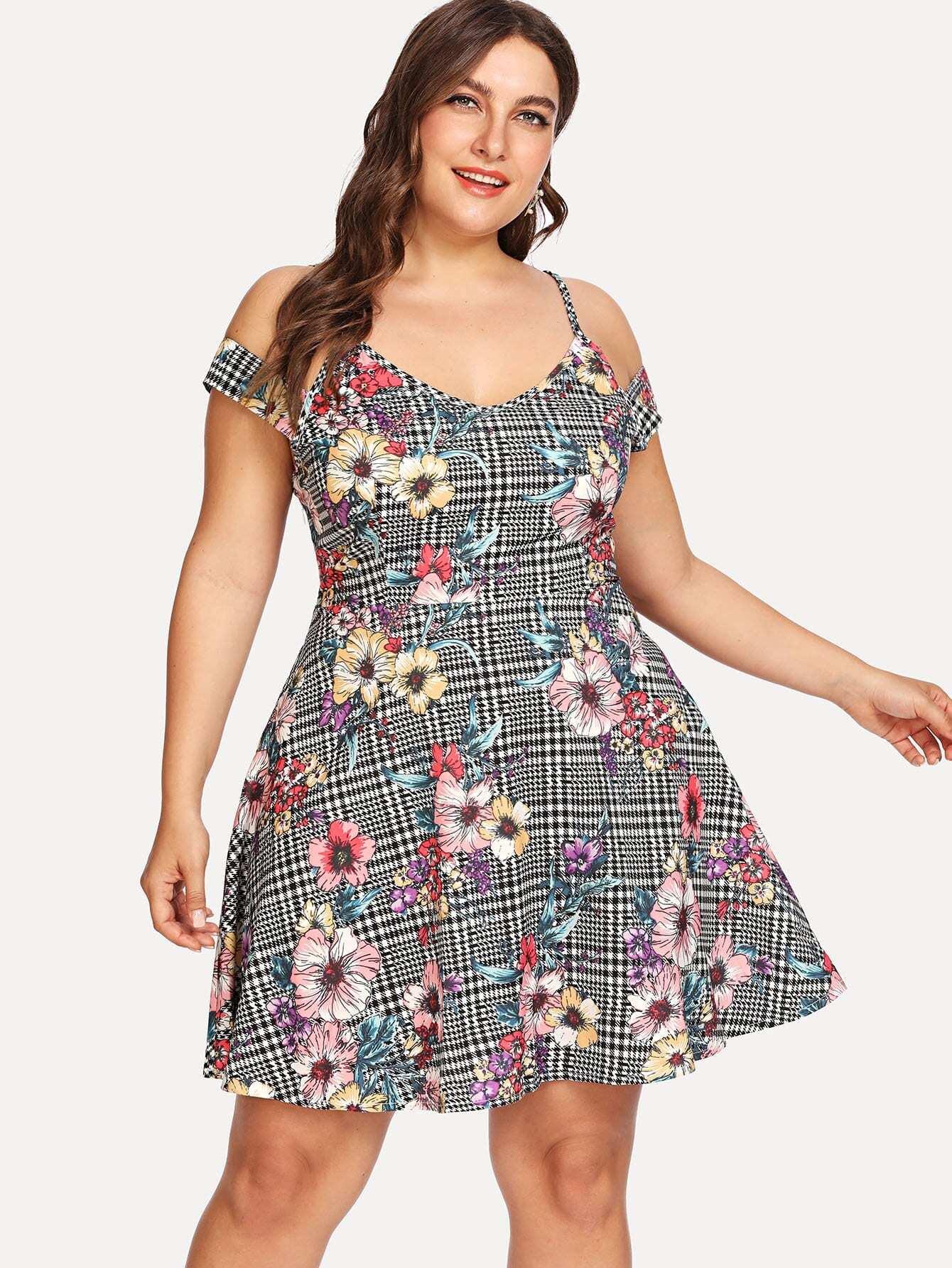 Mixed Print Cold Shoulder Dress mixed print dress