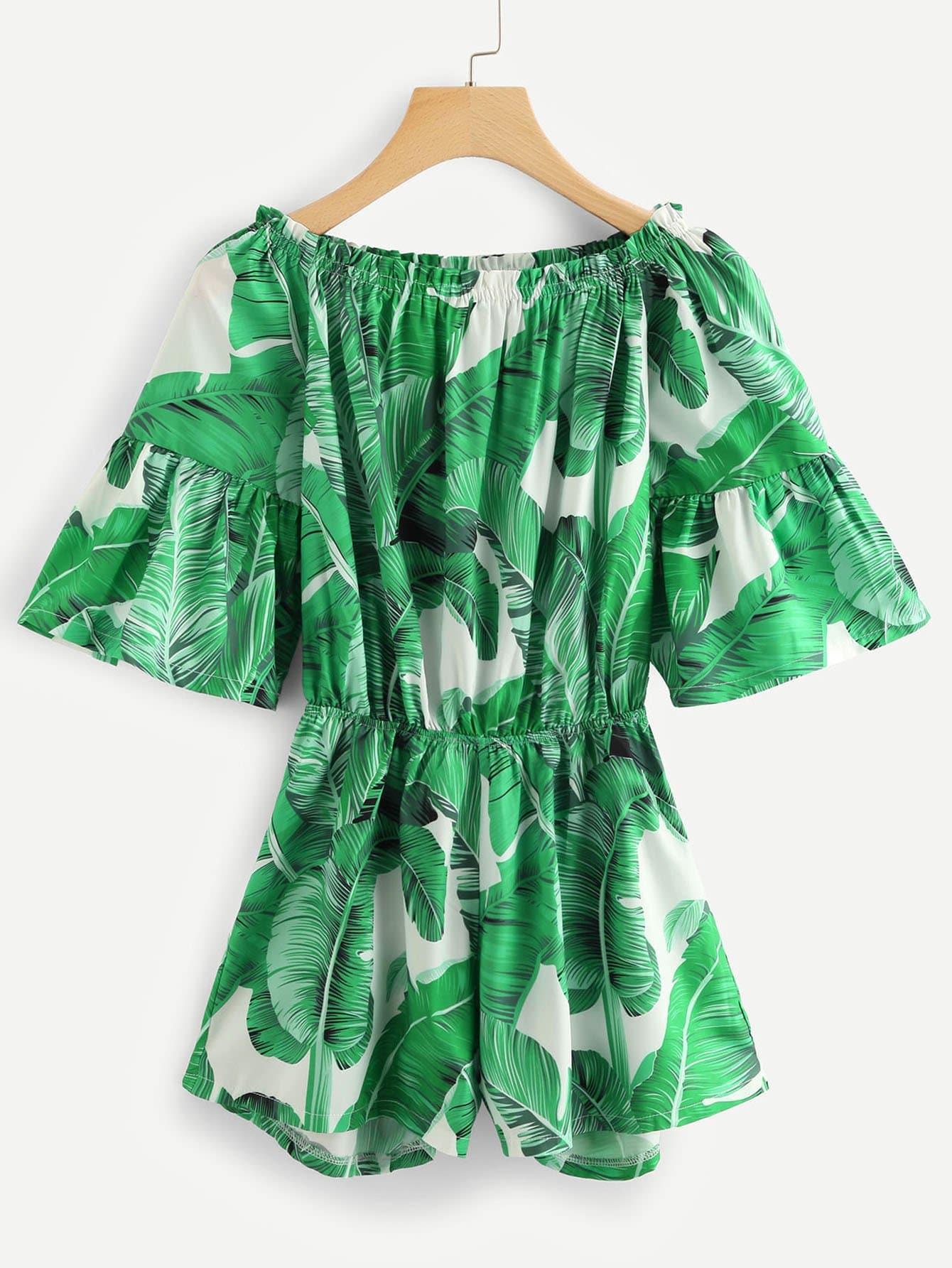 Купить От плеча Tropic Print Romper, null, SheIn