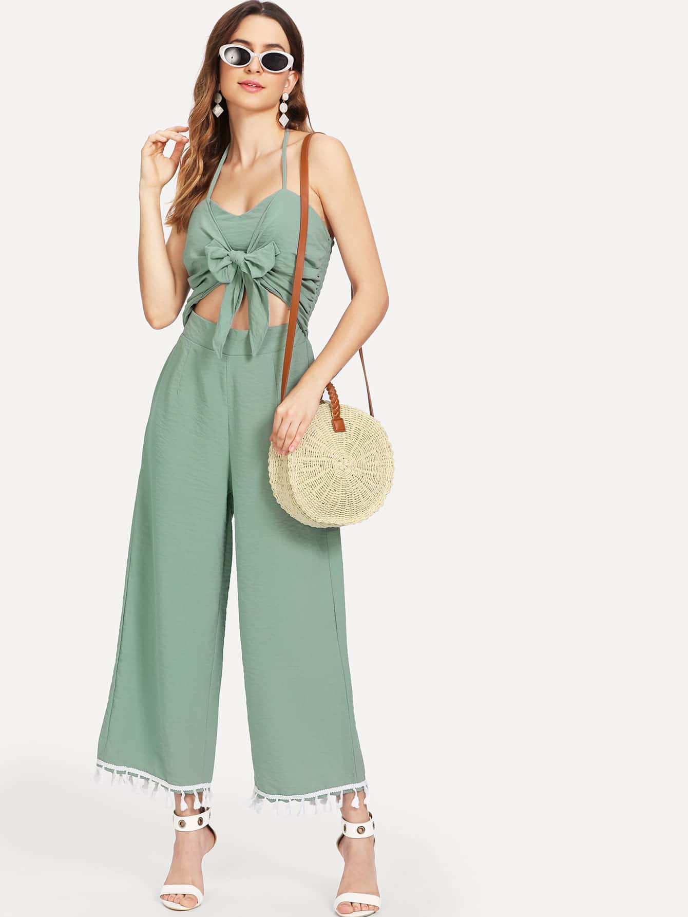 Cut Out Knot Front Fringe Trim Jumpsuit mesh and knot fringe trim check sweater