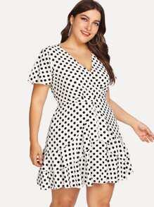 Ruffle Trim Polka Dot Wrap Dress