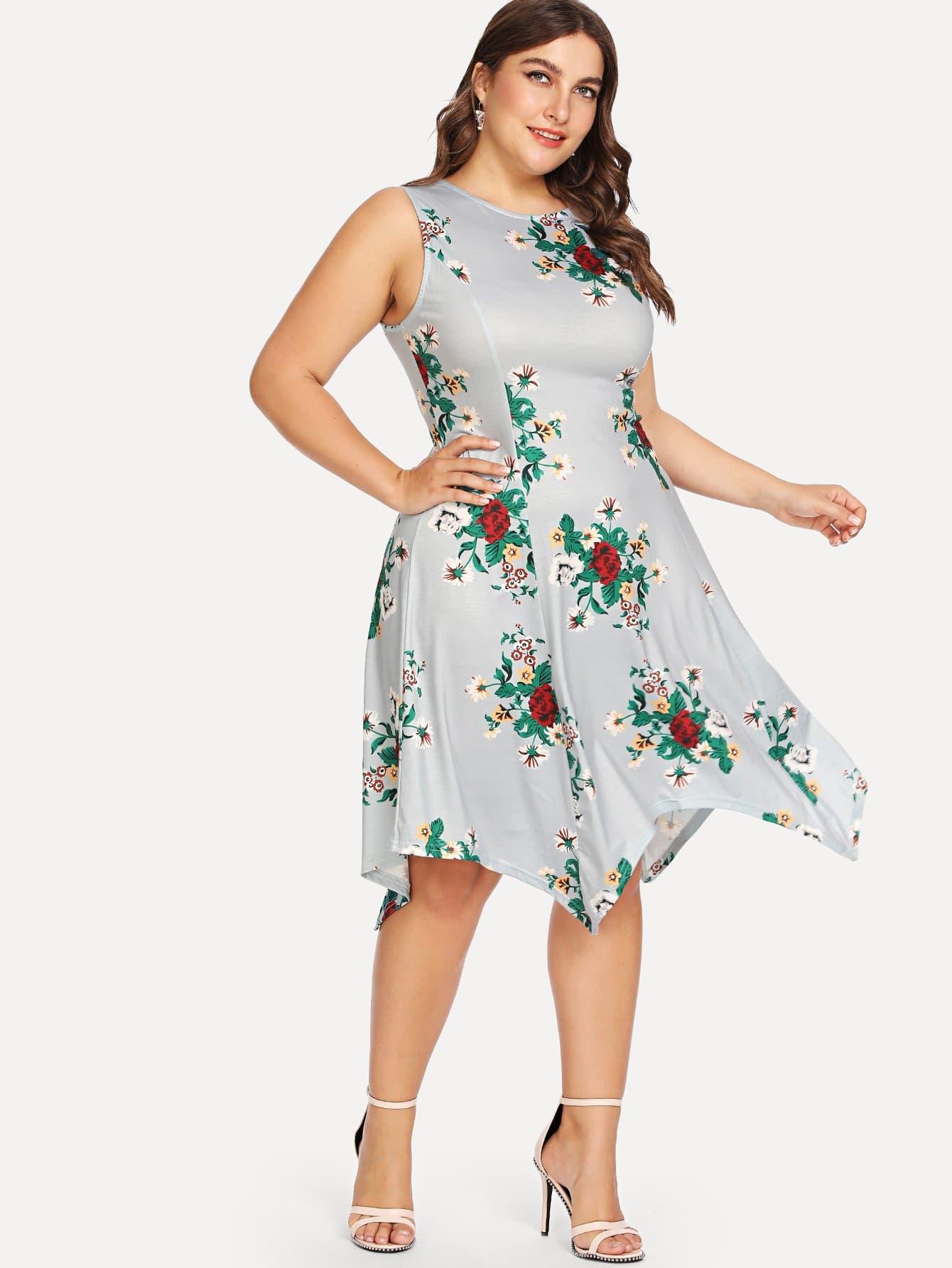 Hanky Hem Floral Tank Dress high slit hanky hem metallic halter dress