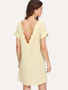 Scalloped Neck Bow Cuff Tunic Dress