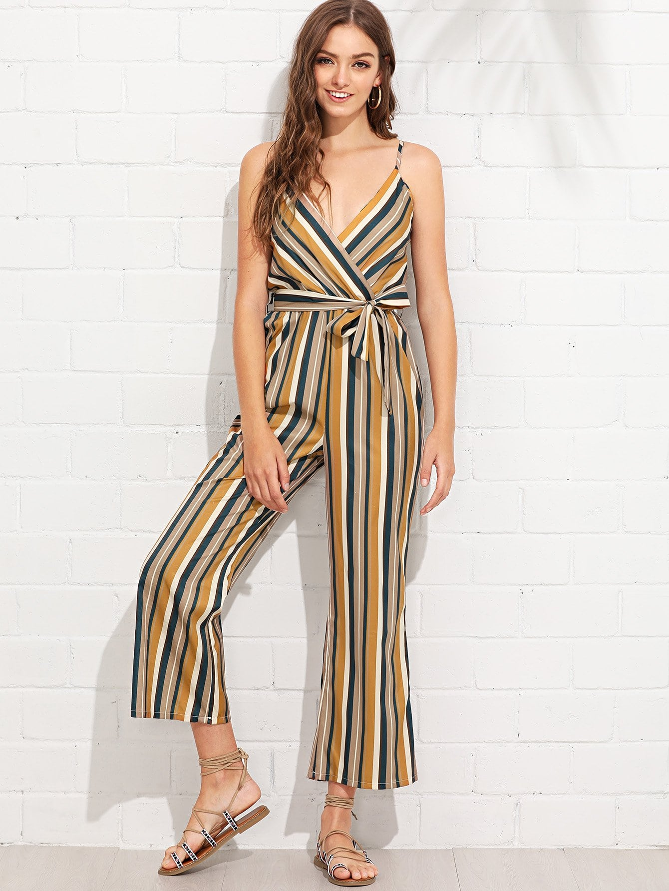 Knot Side Striped Wrap Cami Jumpsuit knot side wrap cami dress