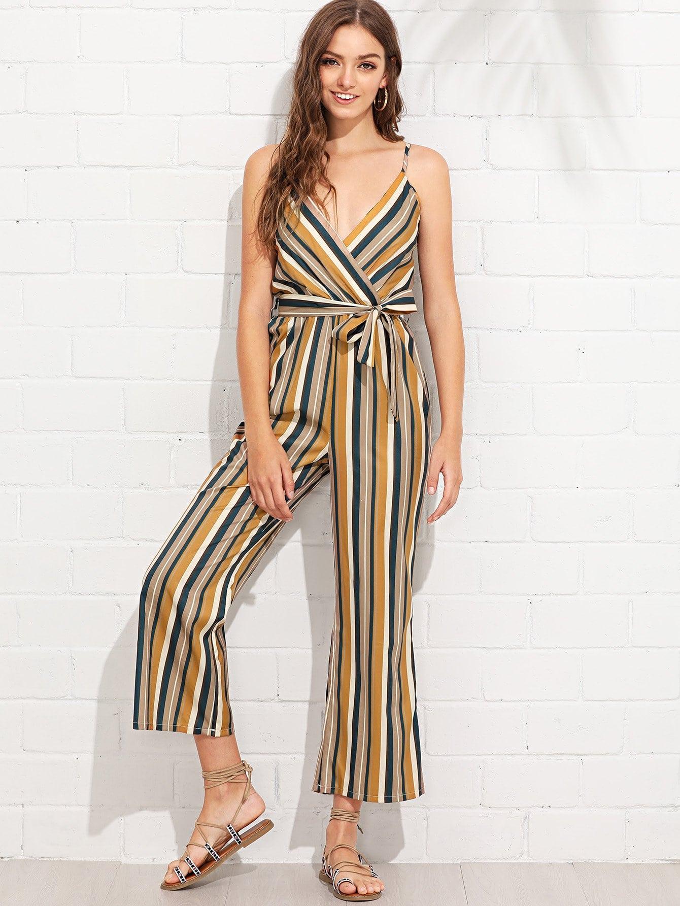 Knot Side Striped Wrap Cami Jumpsuit wrap knot swimsuit