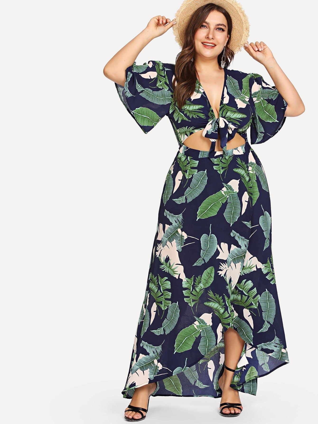 Plus Knot Front Cutout Midriff Tropical Dress knot front cutout midriff halterneck gingham dress