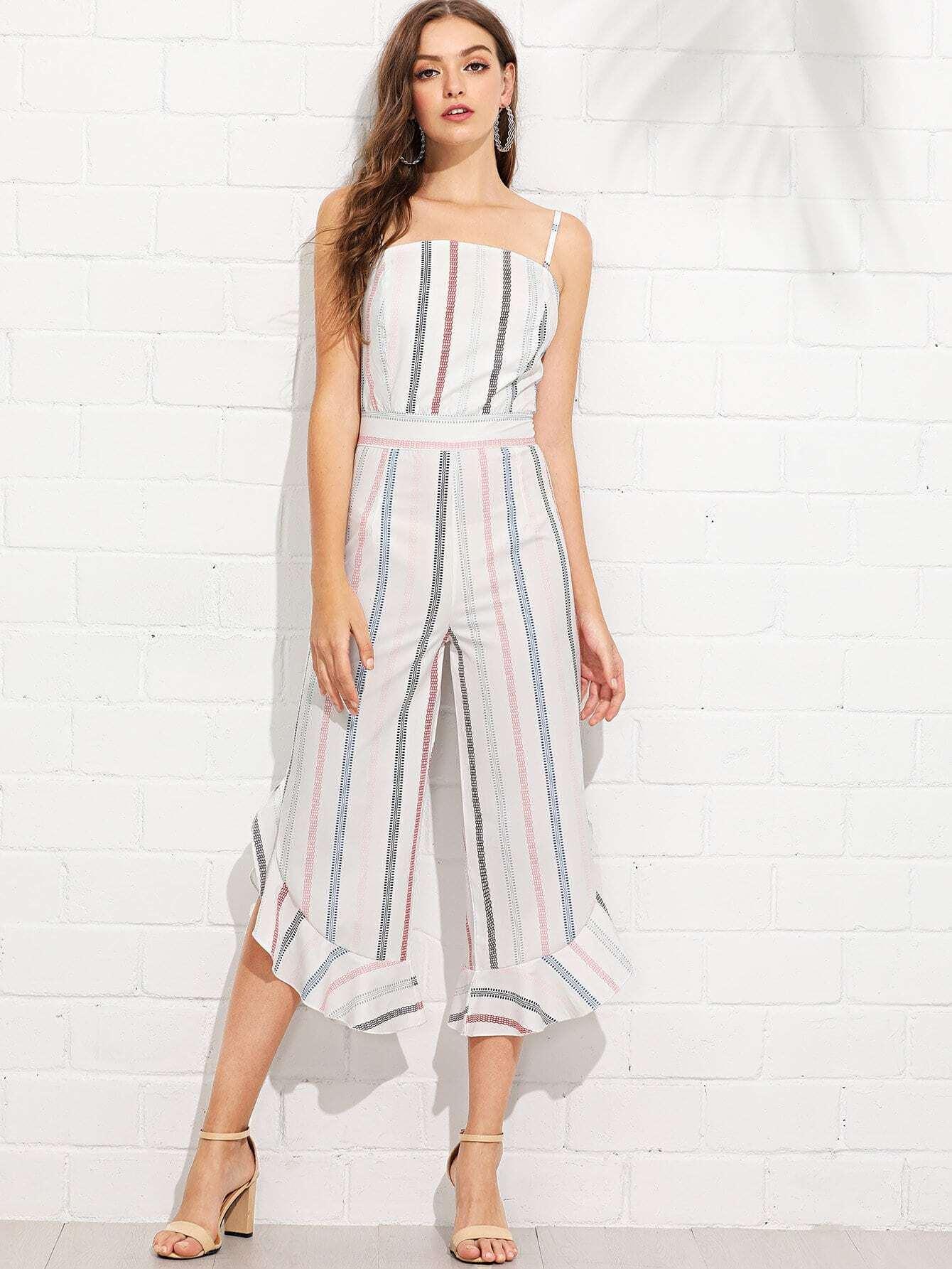 Ruffle Hem Striped Cami Jumpsuit ruffle embellished flower print cami jumpsuit