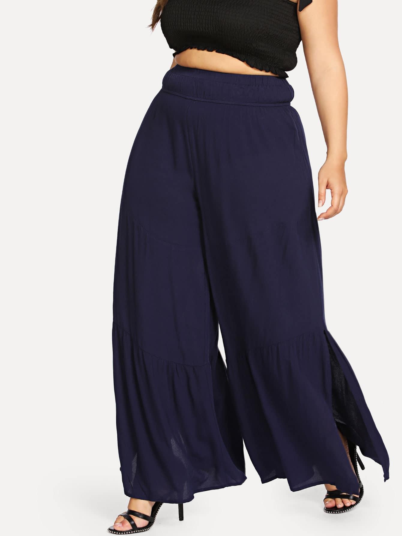 Wide Waistband Ruffle Wide Leg Pants buttoned wide waistband palazzo pants with strap