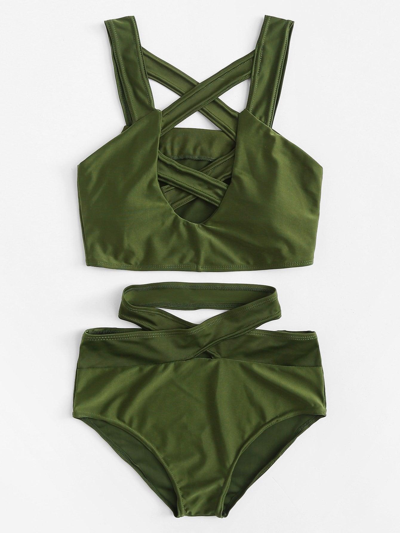 Criss Cross Cut Front High Waist Bikini Set empire waist criss cross front casual dress