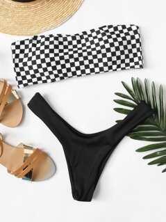 Plaid Print Bandeau Bikini Set