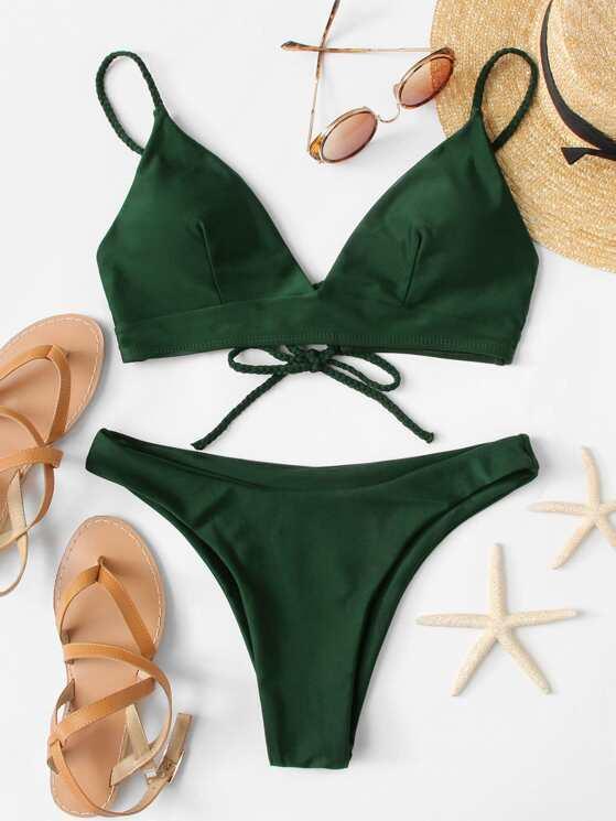 81b8e6df31 Self Knot Back Top With High Leg Bikini Set | MakeMeChic.COM