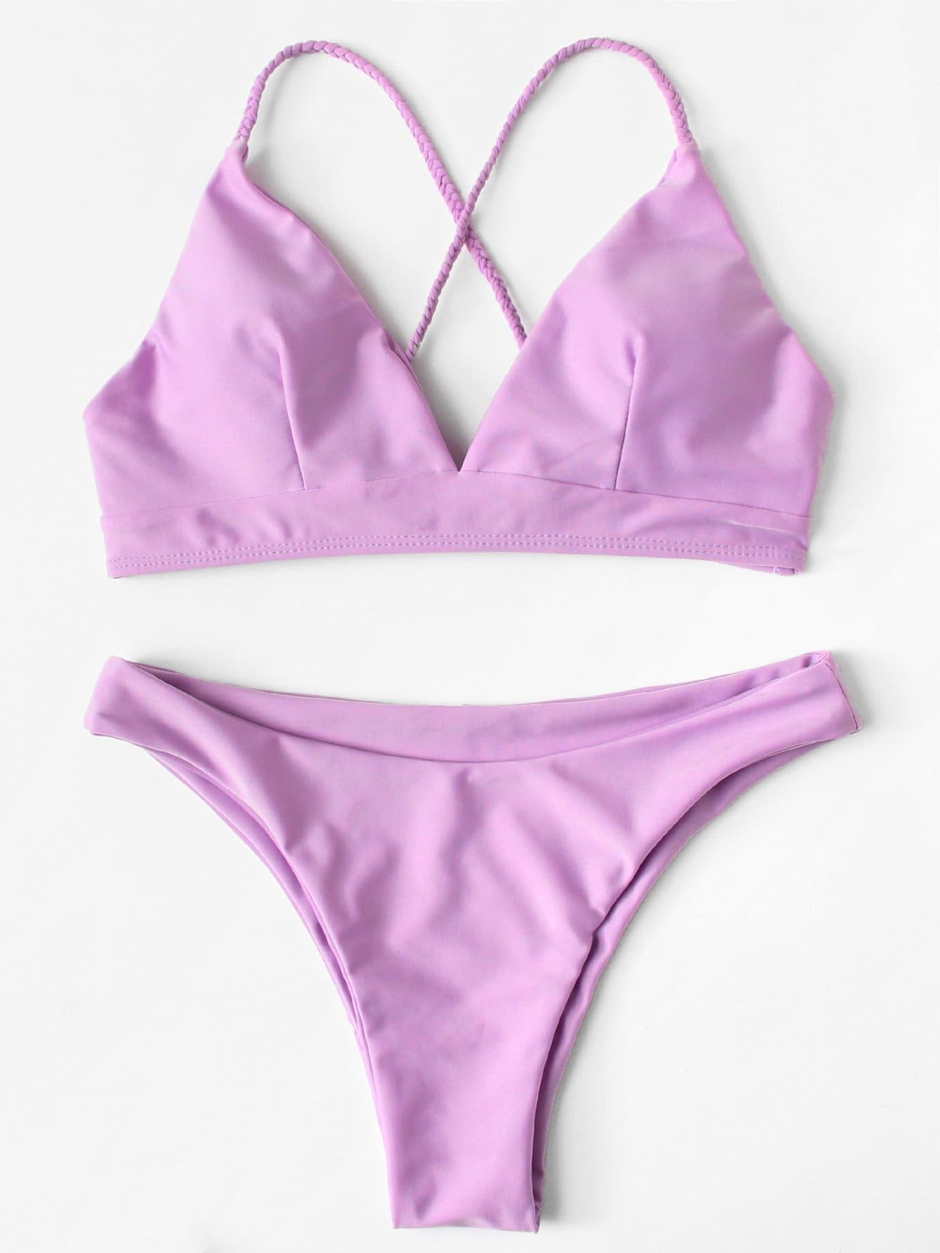Фото Crisscross Knot Back Solid Bikini Set checker knot bikini set