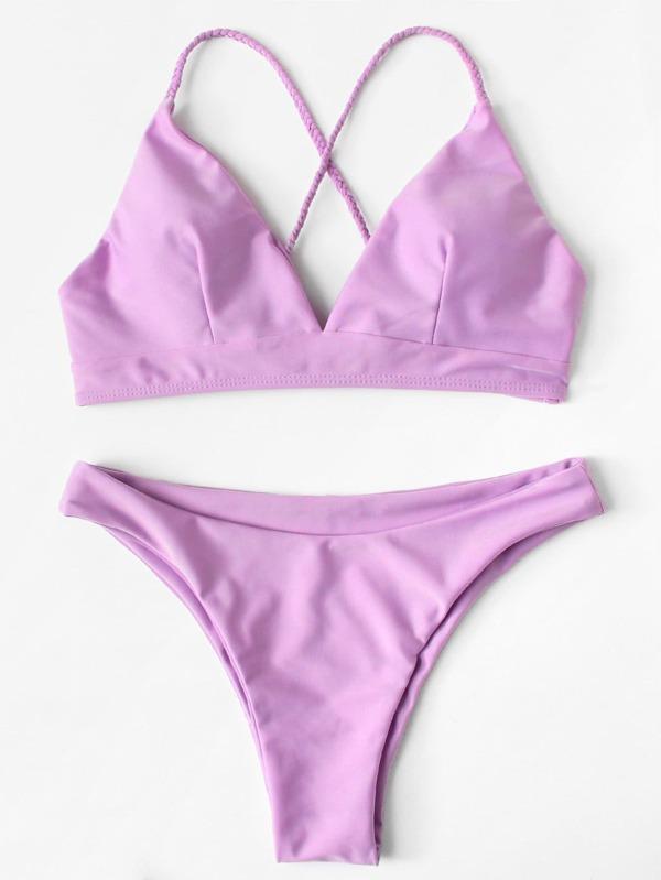 Crisscross Knot Back Solid Bikini Set by Shein