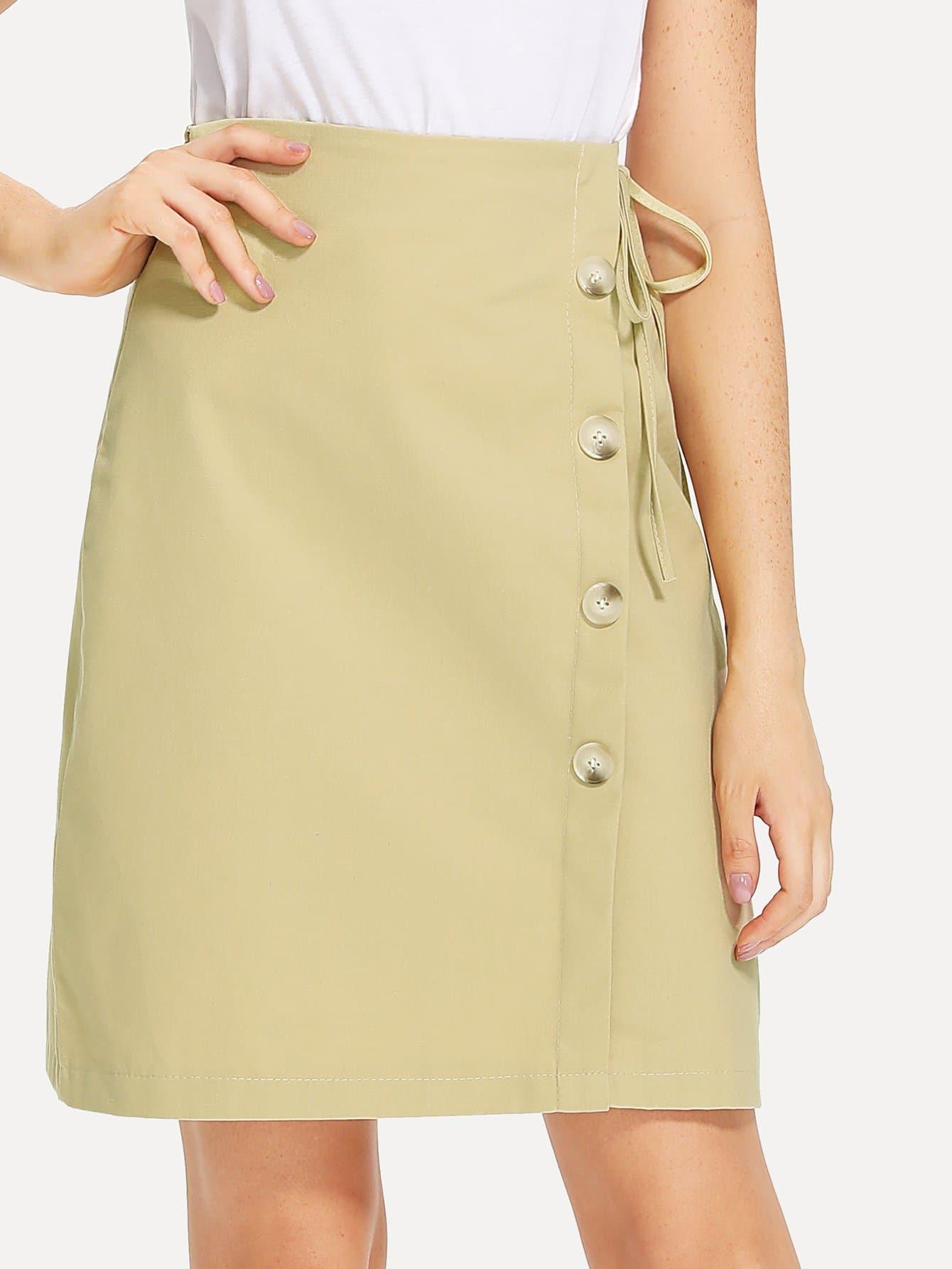 Single Breasted Knot Side Skirt furutech fi e30 ncf r