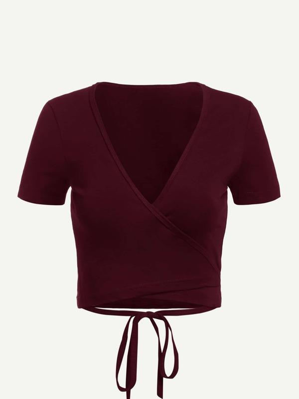 Tie Detail Wrap Crop T Shirt by Sheinside