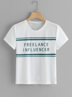 Letter & Stripe Print T-shirt