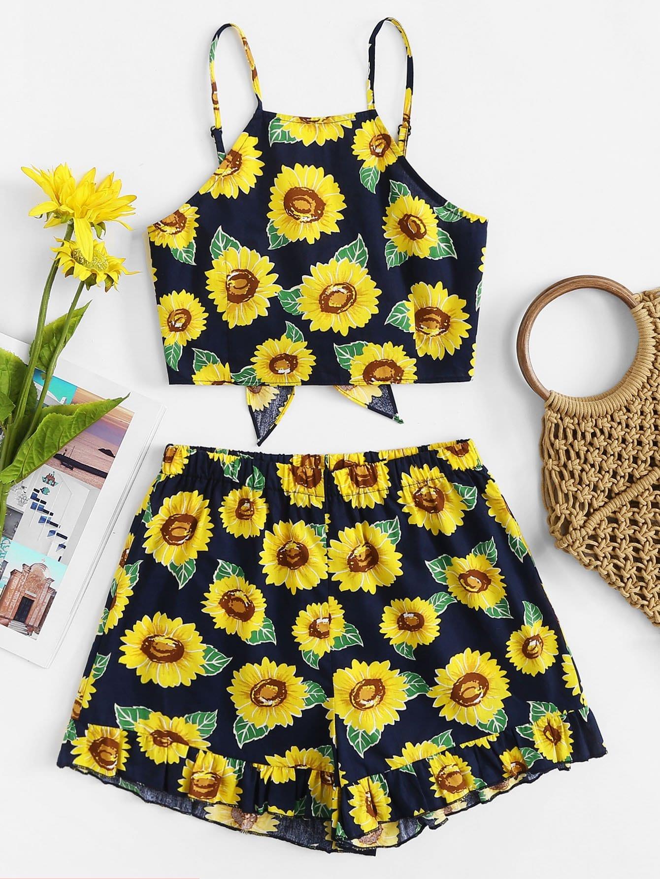 Sunflower Print Crop Top With Shorts sunflower print crop tee