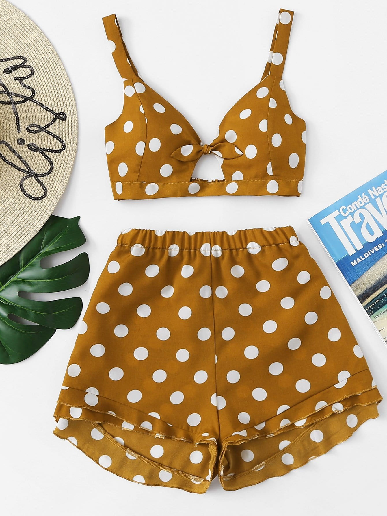 Polka Dot Knot Front Crop Top With Shorts knot back polka dot wrap top