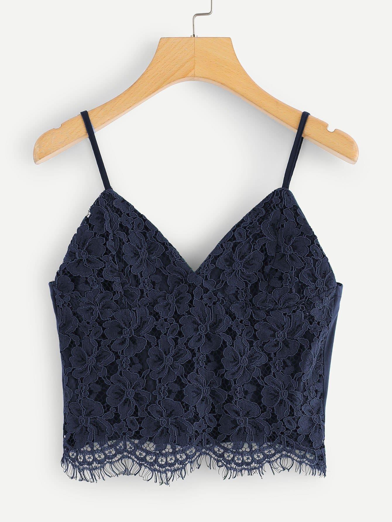 Eyelash Lace Overlay Zipper Back Crop Cami Top black choker sleeveless crop top