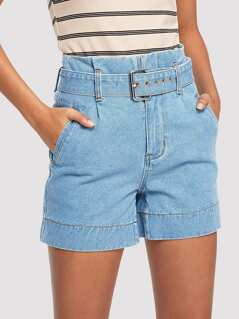 Light Wash Denim Shorts with Buckle Belt
