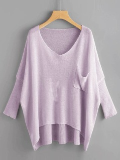 Pocket Front Loose Knit High Low Sweater