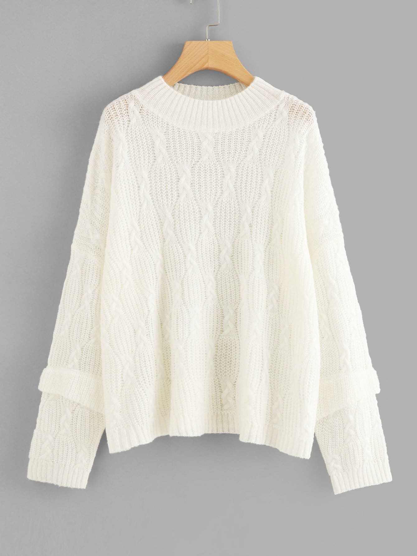 Ruffle Sleeve Cable Knit Jumper