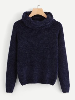 Cowl Neck Marled Knit Chenille Sweater