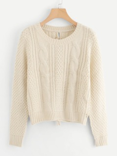 Lace-Up Back Cable Knit Sweater