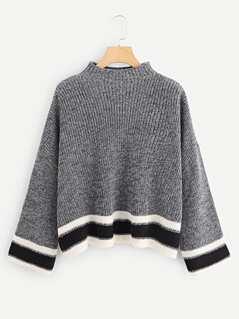 Striped Cuff and Hem Marled Sweater
